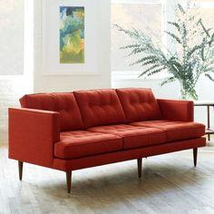 Peggy Tufted 3 Seater Sofa, Heathered Weave, Eucalyptus