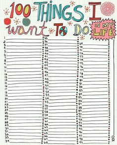 100 things i want to do in my life free printable