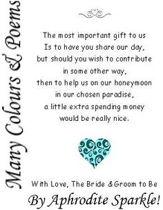 50 Wedding Money Poem Cards Heart Design for invitations ask for money/honeymoon