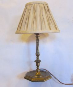 English Table Light In The Original Brass Finish Complemented By  Replacement Silk Shade In A Gold
