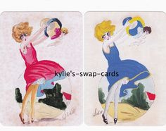 090 ART DECO STYLE swap playing cards MINT COND lady girl in pink blue & cupids