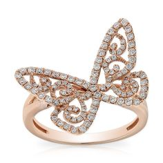 Butterfly ring with diamonds equaling 5/8 carat total weight, in 14K rose gold.