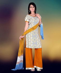 """http://www.istyle99.com/Salwar-Suit/Black-White-Semi-Stitched-Straight-Cut-Salwar-Kameez-7755.html Black & White Semi Stitched Straight Cut Salwar Kameez - Rs 1080 Stitch Type: Semi-stitched Top Colour: White Bottom Colour: Orange Dupatta Colour: Multi Kameez Fabric: Reyon Cotton Bottom Fabric: Cotton Dupatta Fabric: Printed CUSTOMIZED UP TO: 42"""" Bottom in Mtr: 2 Mtr Dupatta in Mtr: 2.25 Mtr Care Type: Dry Cleanr Work Type: Print"""