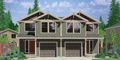 House front color elevation view for D-496 Duplex house plans, 20 ft wide house plans, 4 bedroom duplex plans, D-496