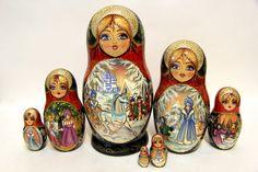 Nesting doll 7 pcs The Snow Queen 7pcs handmade gift Matreshka Matryoshka Free Shipping 5547 by SunGrail on Etsy