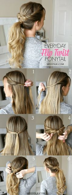 Everyday Flip Twist Ponytail Hair Tutorial: Ponytails are such a great go-to hairstyle. They're quick, easy, and get all of your hair up and out of the way.Everyday Flip Twist Ponytail, On a regular basis Flip Twist Ponytail ❁l o v e l i okay e l o l Easy To Do Hairstyles, Hairstyle Ideas, Flip Hairstyle, Hairstyle Tutorials, 1920s Hairstyles, 5 Minute Hairstyles, Latest Hairstyles, Summer Hair Tutorials, Amazing Hairstyles