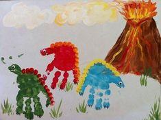 Dinosaur handprint crafts for kids - make it, frame it, bedroom Dinosaurs Preschool, Dinosaur Activities, Dinosaur Art, Art Activities, Preschool Crafts, Dinosaur Crafts Kids, Dinosaurs For Kids, Dinasour Crafts, Dinosaur Prints