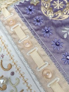 Close up of Crazy Quilt block 1 from Graceful Embroidery http://gracefulembroidery.com/heirloom/romanticrazyquilt/romanticrazyquilt1