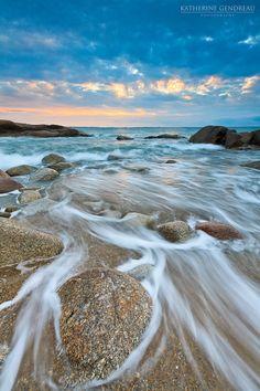 Sunrise Beach Photo Print Seascape Landscape Rocks Ocean New England Storm Clouds Coastal Cottage Wall Art Home Decor