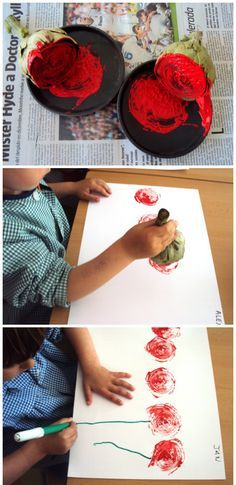 Manualidades Sant Jordi - rosas de alcachofas estampadas con pintura con niños de 3 años