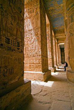 Medinet Habu Temple Egypt Second Court Colonnade Colours Carvings Columns.