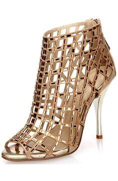 Littleboutique Embellished Cutout High Heel Bootie Rhinestone Studded Sandal Heels Dress Sandal