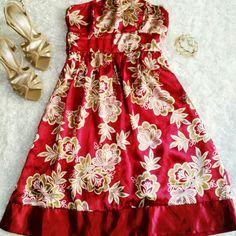 B.Trii Red Satin Dress Gorgeous Satin Strapless Summer Dress. Ties in back. No Trades b.trii Dresses