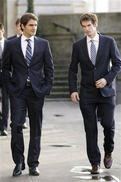 Can't wait for the Wimbledon final between these two (Federer and Murray). Note to Andy .. Don't stand next to Roger in a suit.