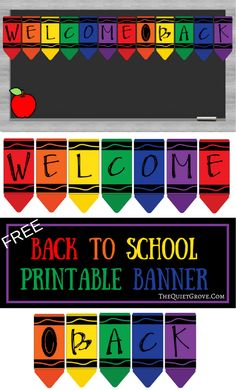 Free Printable Back to School Banner Crayons. Crayons for bulletin board decorations, crayon banner classroom decor or classroom door crayon theme. Crayon Themed Classroom, Classroom Door, Kindergarten Classroom, Classroom Themes, Classroom Organization, Classroom Labels, Preschool Classroom Decor, Holiday Classrooms, Welcome Bulletin Boards