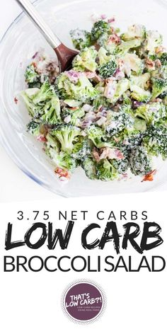 Low Carb Broccoli Salad with BACON! Packed full of flavor and with minimal ingredients this salad is a sure winner! Keto Broccoli Salads for lunch and dinner! Not a bad dish to make for potlucks either... if it can last till then. We devour this! #lowcarb #keto #lowcarbdiet #ketodiet #lowcarbrecipes #ketorecipes #lowcarbrecipe #ketorecipe #broccoli #saladideas #salad #healthysalad #potluck #summerrecipes