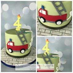 Fire engine fire truck cake