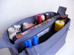 Bag organizer - Purse organizer insert in Grey fabric by daffysdream on Etsy https://www.etsy.com/listing/151992592/bag-organizer-purse-organizer-insert-in