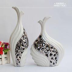 Modern silver vase
