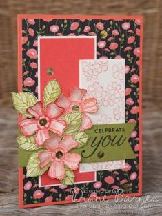 Birthday card using Stampin Up Birthday Blossoms stamp set & Pretty Petals DSP. By Di Barnes #colourmehappy #stampinup by maureen