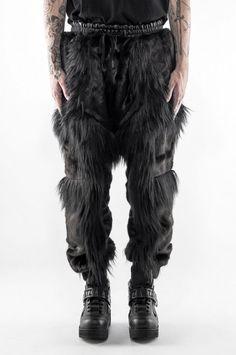 Faux Fur Patchwork Jogging Trousers