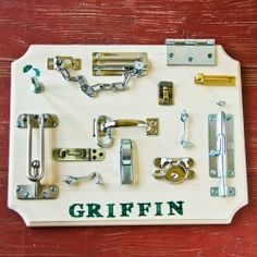 Make your little boy a latches board. Takes just imagination, a drill, and a trip to the hardware store.