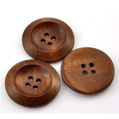 Coffee 4 Holes Wooden Buttons 50PCs
