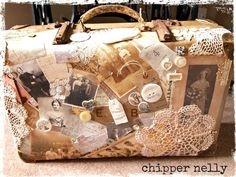 Chipper Nelly vintage suitcase using Grandma's doilies