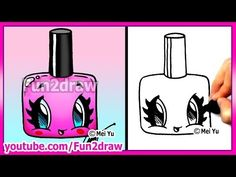 How to Draw Easy Cartoons - Nail Polish Tutorial Cute + Stylish Fun2draw Kawaii - YouTube