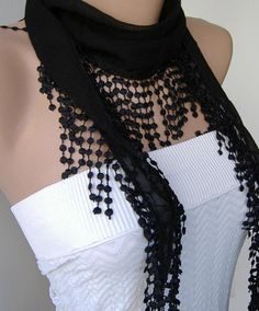 Black and Elegance Shawl / Scarf with Lacy Edge by womann on Etsy, $13.50