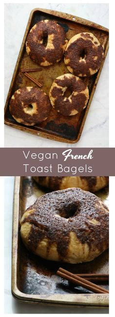 Vegan French Toast Bagels - Eat. Drink. Shrink. Vegan Breakfast Options, Vegan French Toast, Vegan Bread, Vegan Sweets, Bagels, Bread Baking, Bread Recipes, Food Print, Vegetarian