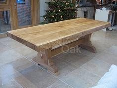 Rustic Oak dining tables are hand made to order - call us to discuss on 01245 224357 Wooden Dining Tables, Rustic Table, Farmhouse Table, Dining Room Table, Trestle Table, Rustic Farmhouse, Dining Rooms, Rustic Furniture, Cool Furniture
