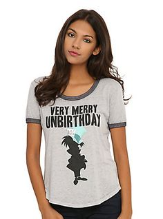 Disney Alice In Wonderland Very Merry Unbirthday Burnout Girls Ringer T-Shirt, , hi-res