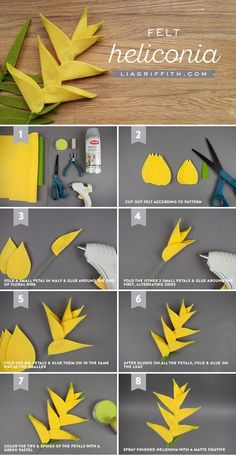 Craft This Outstanding Felt Heliconia Flower for Your Summer Bouquet! - Amy Hume - - Craft This Outstanding Felt Heliconia Flower for Your Summer Bouquet!Named for Mount Helicon in Greece, the heliconia flower is both alluring and unique. Paper Flowers Diy, Flower Crafts, Fabric Flowers, Craft Flowers, Origami Flower Bouquet, Flower Diy, Flower Ideas, Jar Crafts, Felt Crafts