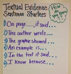 Common Core is all about evidence! Standard One for all grades is all about showing the evidence! This is a great Anchor Chart for Textual Evidence Sentence Starters- I would modify the language required for upper elementary and middle school students. Teaching Language Arts, Teaching Writing, Student Teaching, Essay Writing, Teaching Themes, Sentence Writing, Evidence Anchor Chart, Text Evidence, Citing Evidence