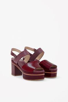 COS Burbundy Leather Sandals SS14