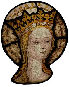 The Museum is located on the upper level of Ely Cathedral   Stained glass panel depicting the head of a crowned and haloed woman. Made between 1440-1460 probably by a Norwich Artist
