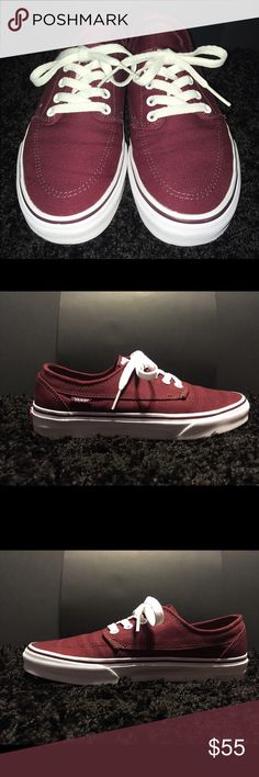 Burgundy Brigata Vans Burgundy Brigata Vans. US Men's 6, US Women's 7.5. Only worn 2/3 times. $55 OBO. Vans Shoes Sneakers