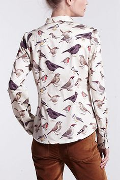 Pixie's English Birds Buttondown