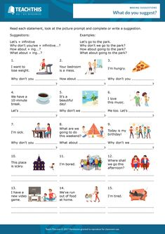 ESL Making Suggestions Worksheet - Reading and Writing Activity - Elementary - 20 minutes In this useful making suggestions worksheet, students complete and write suggestions from a set of prompts. Teaching English Grammar, Spanish Language Learning, English Vocabulary, Teaching Spanish, Esl Writing Activities, English Activities, Vocabulary Activities, Preschool Worksheets, Esl Lessons