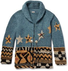 Japanese brand KAPITAL is built on heritage craftsmanship and an Americana-inspired aesthetic. Detailed with intarsia-knitted stars, this shawl-collar cardigan is expertly crafted from a naturally insulating wool-blend. It's finished with silver concho-style buttons and tassels that can be tied at the front. Complete the look with a patchwork shirt and distressed denim.<br><br>This item is large to size; see Size & Fit notes.