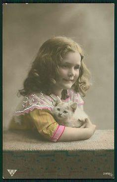 Pretty Child Girl Persian White Cat Kitten Original Vintage 1910s Photo Postcard