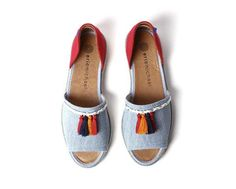 European sizing, fits true to size Canvas upper Leather lining Easy slip on style Peep toe D'orsay Spring Sandals, Espadrilles, Peep Toe, Slip On, Flats, Denim, Leather, Shoes, Collection