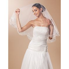 One-tier+Fingertip+Wedding+Veil+With+Lace+Pencil+Edge+And+Bead+–+USD+$+4.99