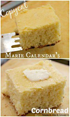 Copycat Marie Calendar's Corn Bread - from Vergès {Made It. Ate It. Loved It.} My hubbs loves this stuff Marie Calendar Cornbread Recipe, Sweet Cornbread, Cornbread Recipes, Cornbread Cake, Cornbread Muffins, Kopy Kat Recipe, Biscuit Bread, Birthday Dinners, Restaurant Recipes
