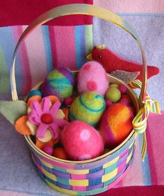 Visit me today over at Knotions where I talk about Thrift Shop Savvy: In Search of Sweaters! Also there's another (!) chance to win a copy of Sewing Green! I've been so preoccupied with book-blah-blah and kids home for Spring Break that I haven't even decorated yet for Easter. I made these little needle felted ...