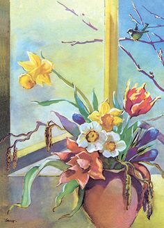 MARTTA WENDELIN | Osastot | Korttien Talo Helene Schjerfbeck, Daily Journal, Illustrations And Posters, Daffodils, Martini, Bloom, Spring, Floral, Flowers