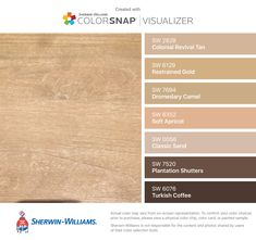 I found these colors with ColorSnap® Visualizer for iPhone by Sherwin-Williams: Colonial Revival Tan (SW 2828), Restrained Gold (SW 6129), Dromedary Camel (SW 7694), Soft Apricot (SW 6352), Classic Sand (SW 0056), Plantation Shutters (SW 7520), Turkish Coffee (SW 6076).