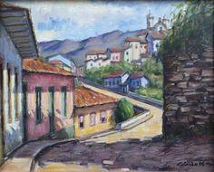 Quadro Pintura Óleo Casario Ouro Preto 24x30 Frete Grátis - R$ 230,00 em Mercado Livre