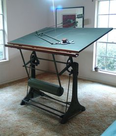 ANTIQUE FRANZ KUHLMANN DRAFTING TABLE AND MACHINE